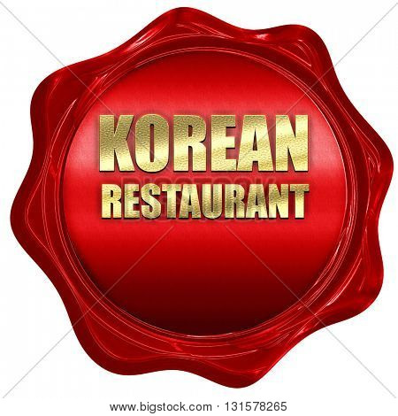 Delicious korean cuisine, 3D rendering, a red wax seal