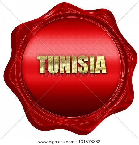 Greetings from tunisia, 3D rendering, a red wax seal