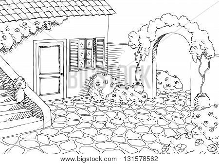 Village house graphic yard art black white landscape illustration vector