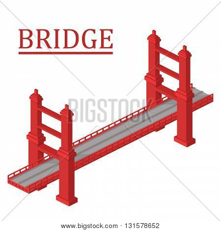Vector isometric bridge. Bridge isolated on white background.