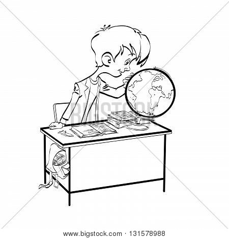 Geography, Student boy looking globe line art. The school and education. Science geography. black and white illustration for coloring