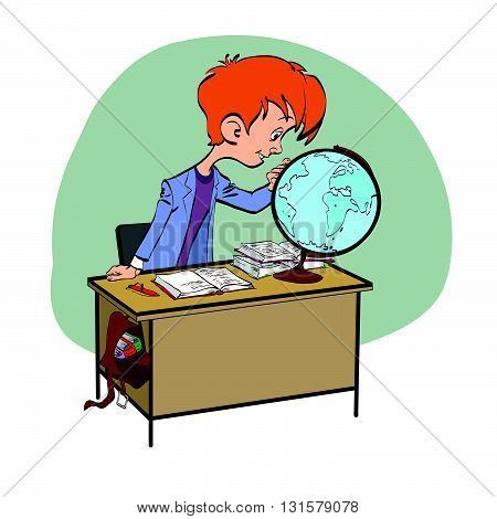 Geography, Student boy looking globe line art. The school and education. Science geography