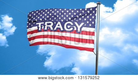 tracy, 3D rendering, city flag with stars and stripes