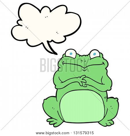 freehand drawn speech bubble cartoon funny frog