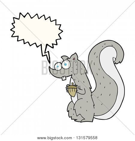freehand drawn speech bubble cartoon squirrel with nut