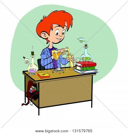 Chemistry, boy schoolboy pours vials line art. The science of chemistry. The school and education. Chemical experience