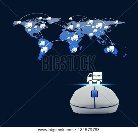 Wireless computer mouse with delivery truck icon and truck world map connection over blue background Transportation business concept Elements of this image furnished by NASA