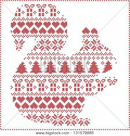 Scandinavian Norwegian style winter stitching  knitting  christmas pattern in  in squirrel  shape including snowflakes, hearts xmas trees c, snow, stars, decorative ornaments on white background