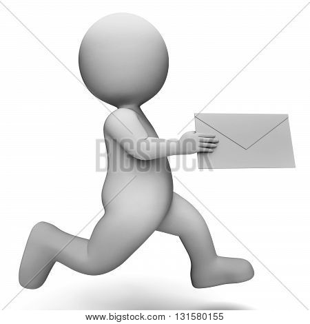 Email Message Represents Communicate Communication And Man 3D Rendering