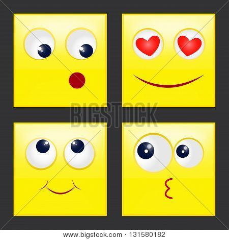 set square emoticons, vector illustration eps 10