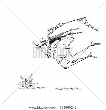 lGirl naturalist catches the butterfly a net ine art. Insects nature science education. Entomology. Black and white illustration for painting