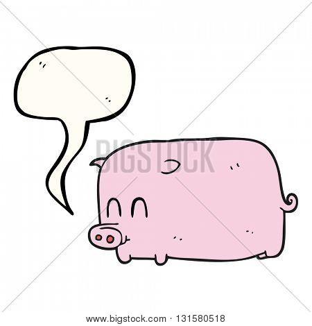 freehand drawn speech bubble cartoon pig