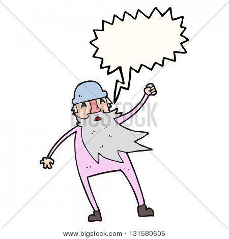 freehand drawn speech bubble cartoon old man in thermal underwear