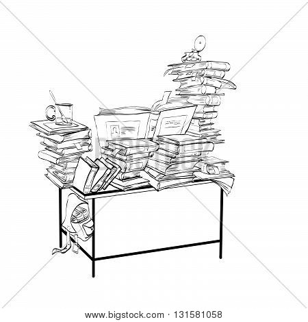 School Desk with books, literature and the library line art. Reading and education. Black and white illustration for coloring