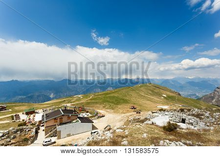 Monte Baldo Italy - May 03 2016: View of the cafe and people on the mount of Monte Baldo