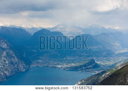View of the town of Riva del Garda from the mount of Monte Baldo