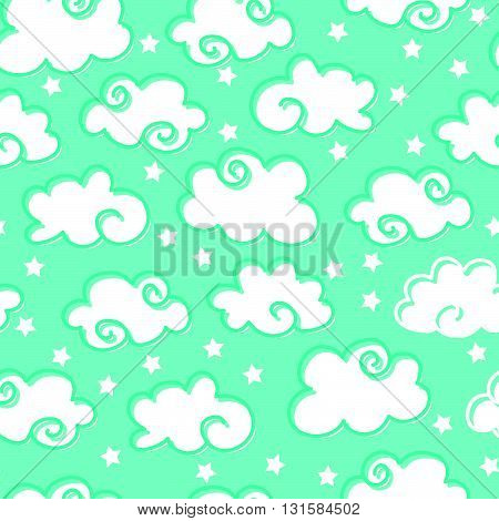 Seamless Pattern With Clouds And Stars