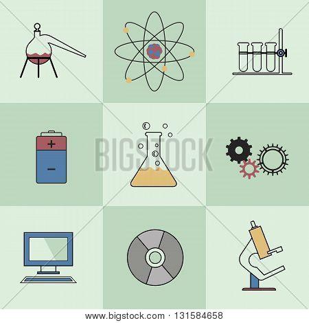 Scientific laboratory flat icon Set. Flat design. Vector illustration