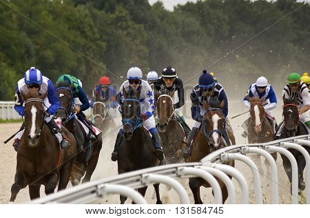 PYATIGORSK, RUSSIA - MAY 22: Start gates for horse races for the prize of Letni in Pyatigorsk, Caucasus, Russia on May 22,2016.