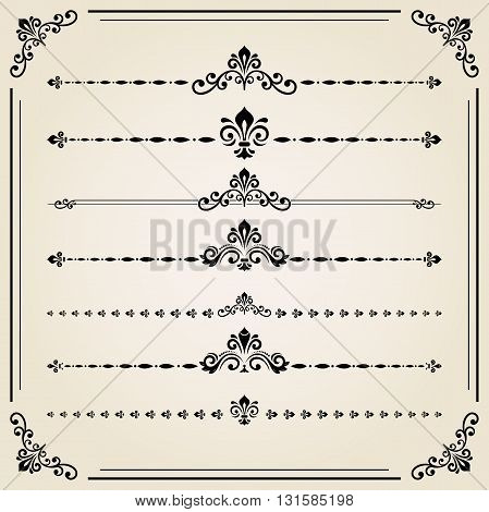 Vintage set of decorative elements. Horizontal separators in the frame. Collection of different ornaments