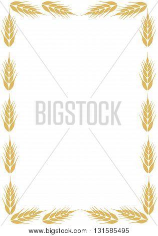 Frame with ear of wheat - vector illustration.