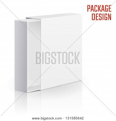 Vector Illustration of Clear Gift Carton Box for Design, Website, Background, Banner. White Package Template isolated on white. Retail pack with for your brand on it