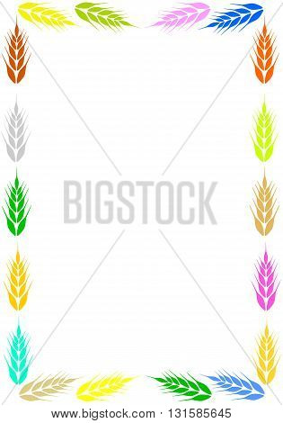 Colorful frame with ear of wheat - vector illustration.