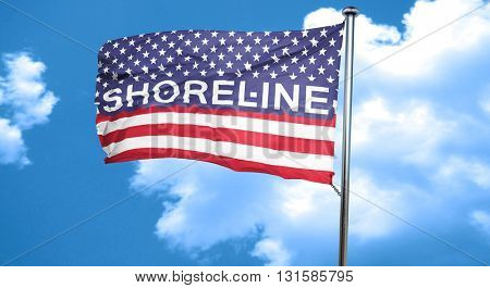 shoreline, 3D rendering, city flag with stars and stripes