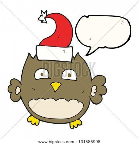 freehand drawn speech bubble cartoon owl wearing christmas hat