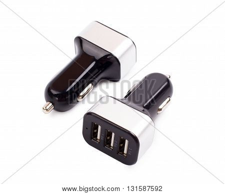 Car charger on a white background d