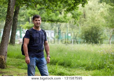 Man With Backpack Outdoor
