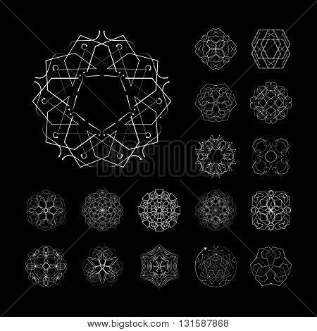 The circular geometric patterns. Black and white vector set. Magic, mandala, philosophy. The symbols and elements.