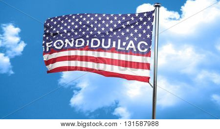fond du lac, 3D rendering, city flag with stars and stripes