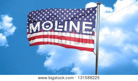 moline, 3D rendering, city flag with stars and stripes