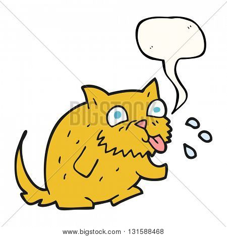 freehand drawn speech bubble cartoon cat blowing raspberry