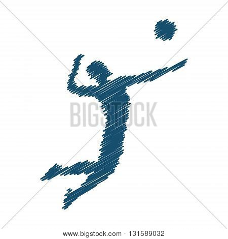 Concept vector volleyball. Volleyball players black silhouette. Modern volleyball logo.