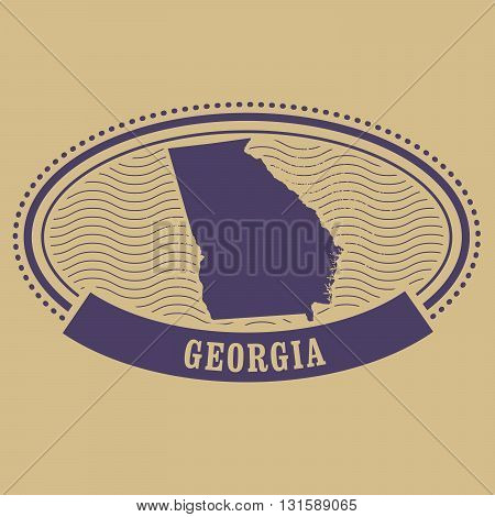 Georgia state map silhouette - oval stamp