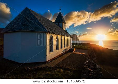 The church in the village of Vidareidi, at the northern end of the island of Vidoy, Faroe Islands.