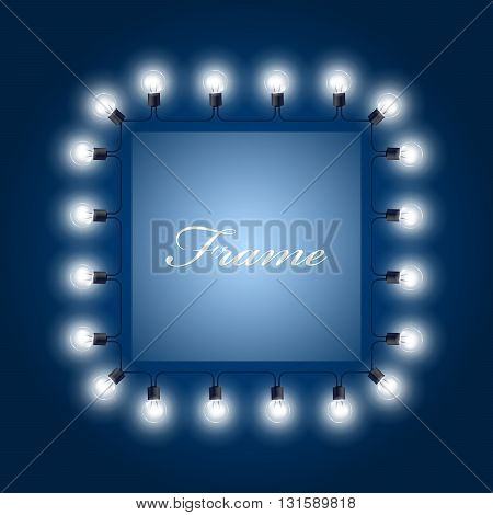 Frame of luminous light bulbs - theatre poster