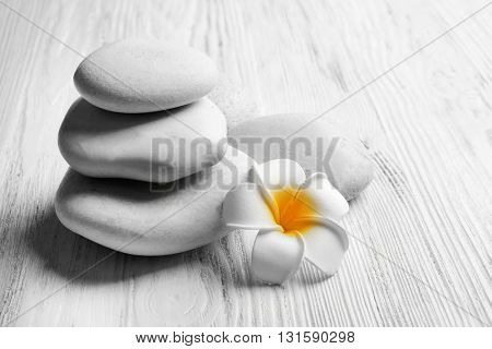 Beautiful spa composition on light wooden background