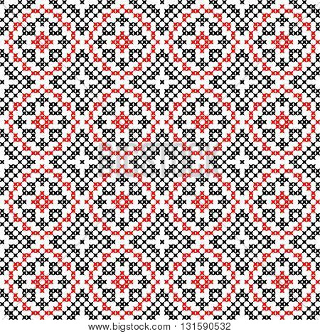Isolated seamless texture with red and black abstract patterns for tablecloth.Embroidery.Cross stitch.