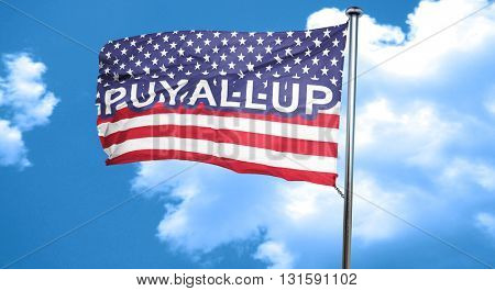 puyallup, 3D rendering, city flag with stars and stripes