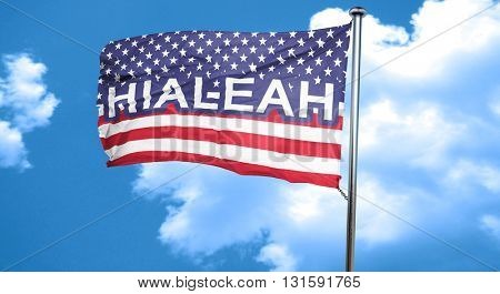 hialeah, 3D rendering, city flag with stars and stripes