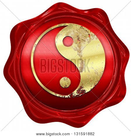 Ying yang symbol, 3D rendering, a red wax seal