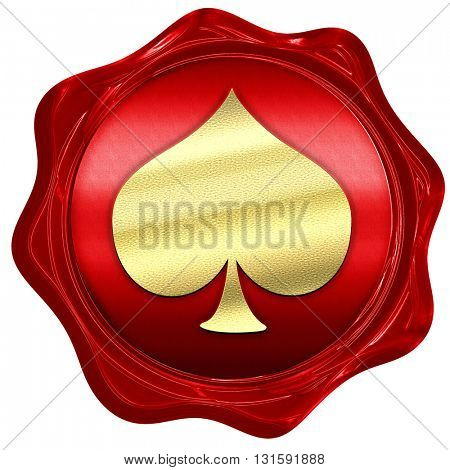 Spade card background, 3D rendering, a red wax seal