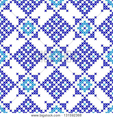 Isolated seamless texture with blue abstract patterns for tablecloth.Embroidery.Cross stitch.