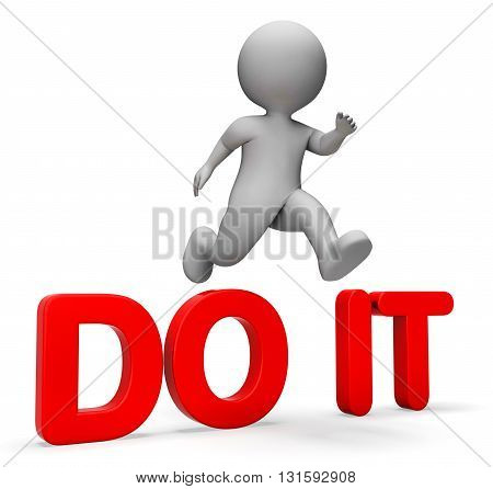 Do It Shows Man Character And Succeed 3D Rendering