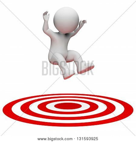 Success Target Indicates Aiming Man And Illustration 3D Rendering