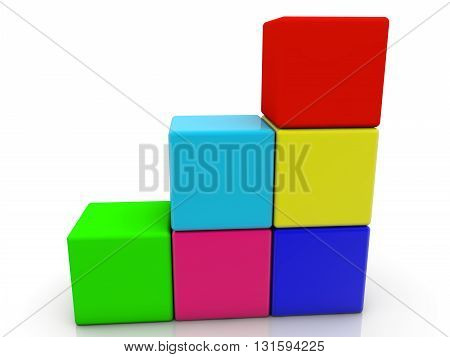Toy cubes in different colors on white . 3D illustration .