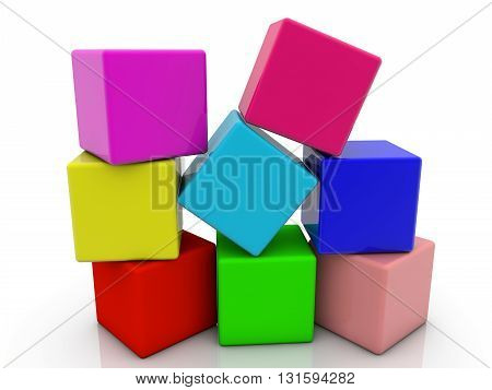 Toy cubes in heap in different colors on white . 3D illustration .